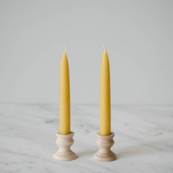 6 inch beeswax taper candle - set of two
