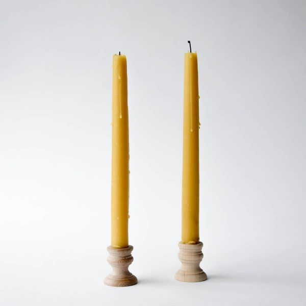 beeswax taper candles - set of two