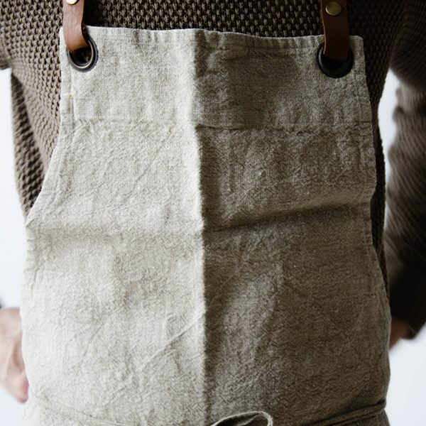 linen and leather luxury apron