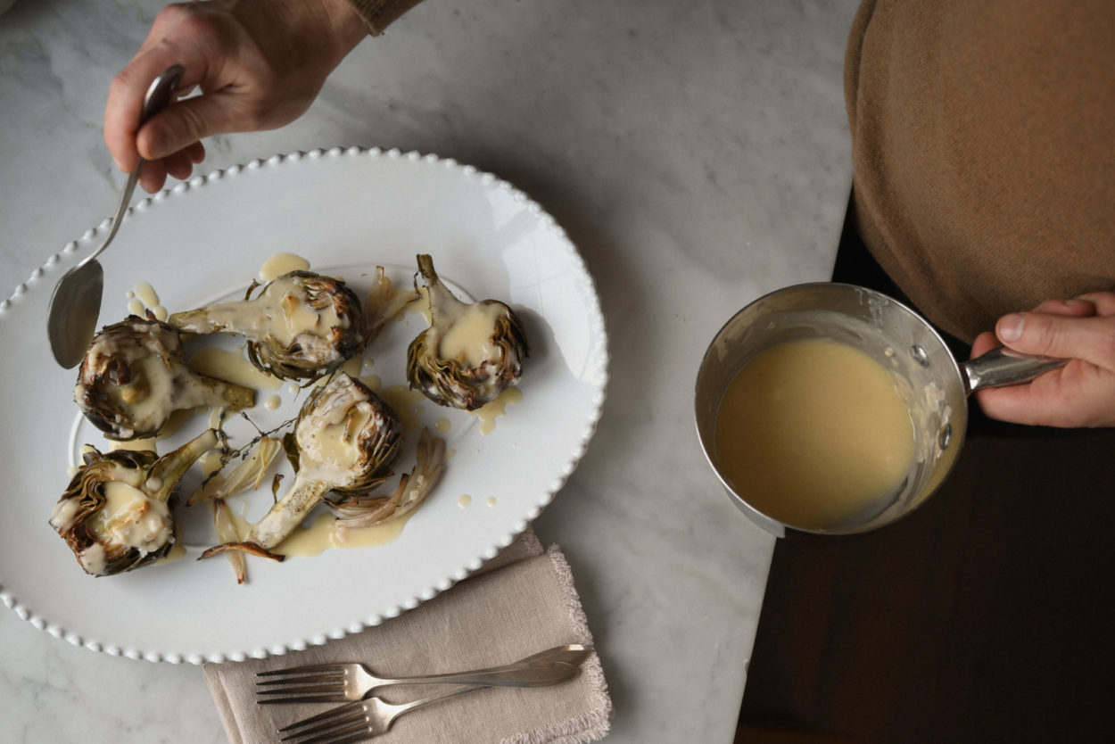 Recipe: Roasted Artichokes with Beurre Blanc